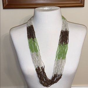 Green White and Gold Beaded Statement Necklace